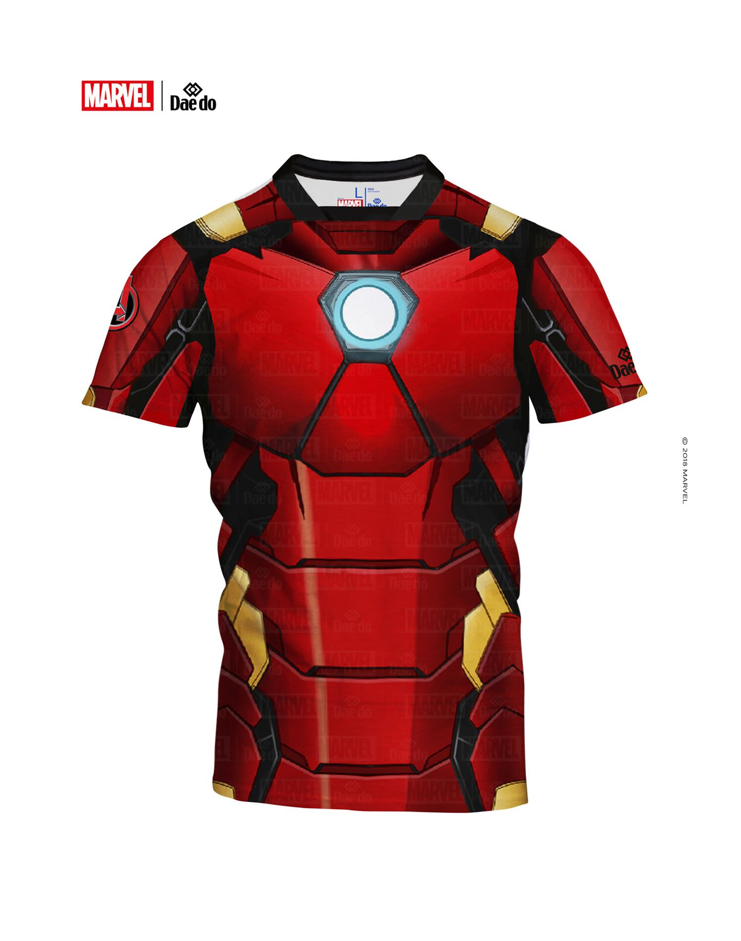 Dae Do Maglietta Junior Iron Man Full Print Slim Fit (14 - ROSSO NERO)
