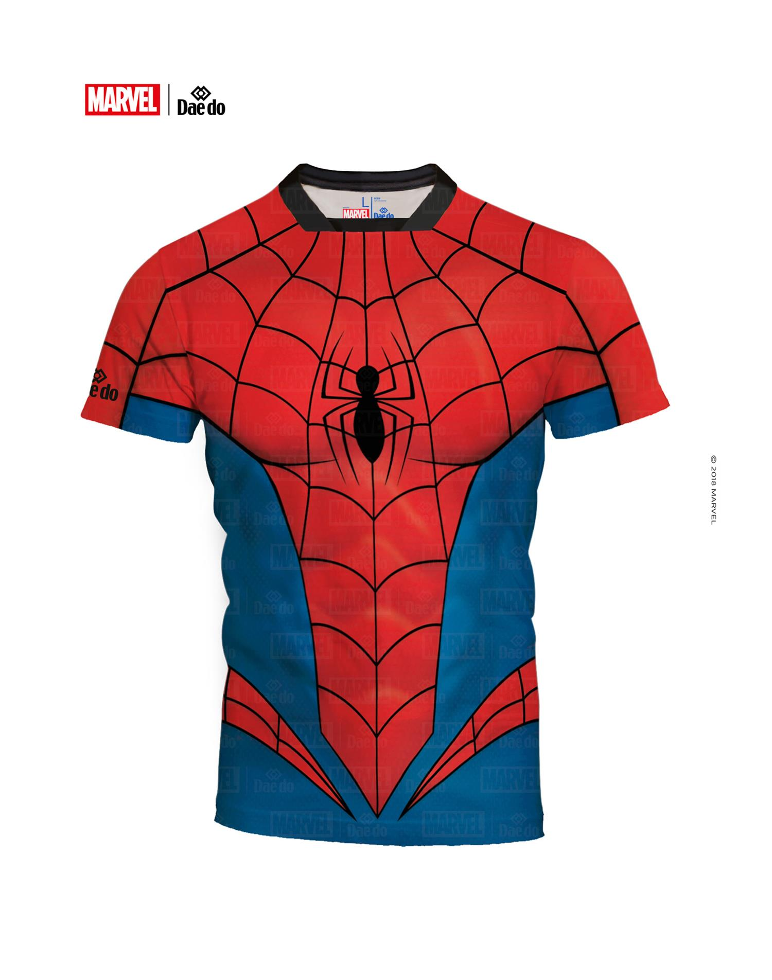 Dae Do Maglietta Spider-Man Full Print Slim Fit (L - ROSSO - BLU)