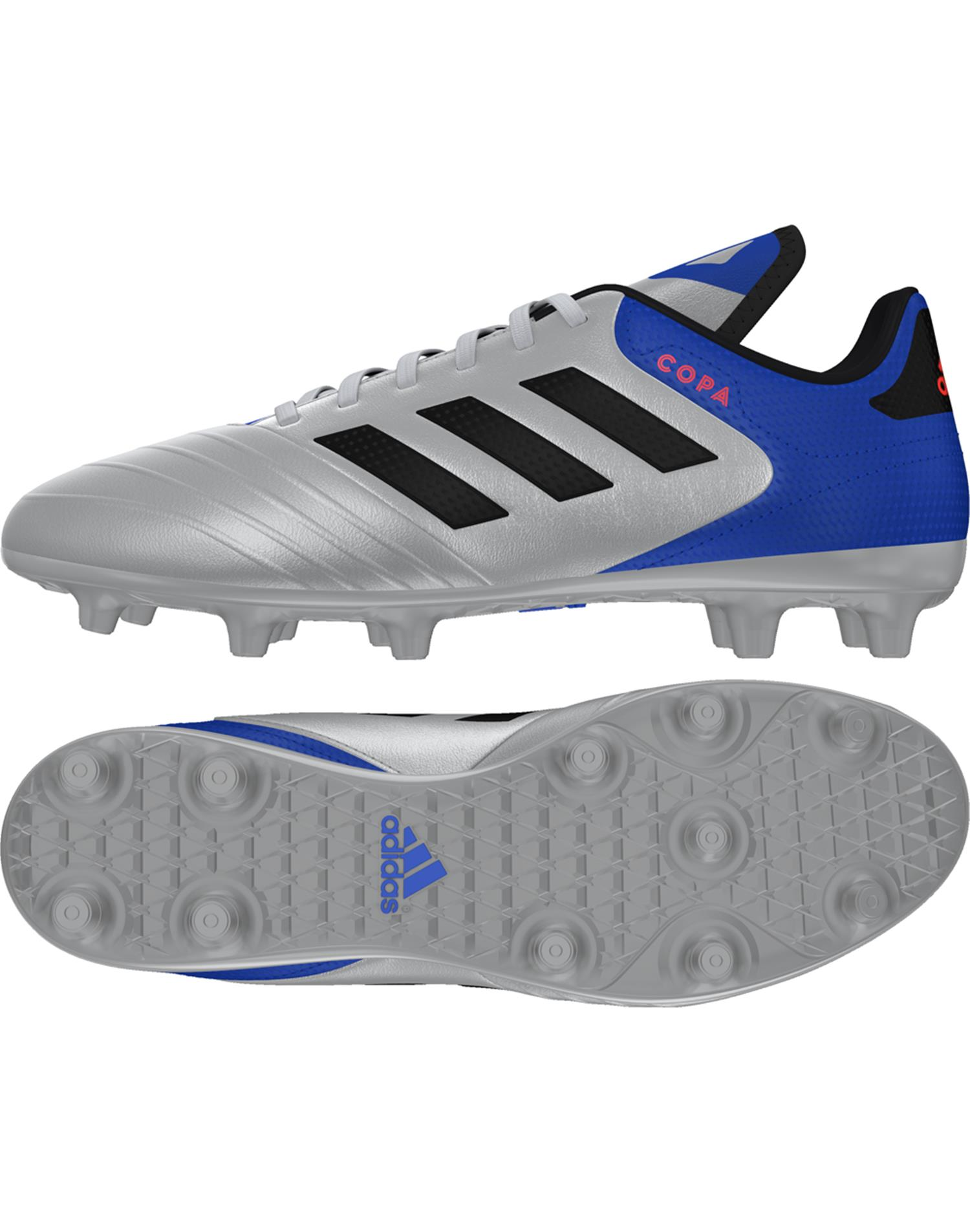 ADIDAS Scarpe da Calcio Copa 18.3 Firm Ground (41-1/3 - ARGENTO - ROYAL - NERO)