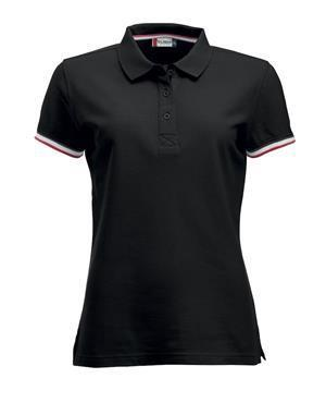 NewWave Polo donna  clique newton colletto colorato (S - NERO)